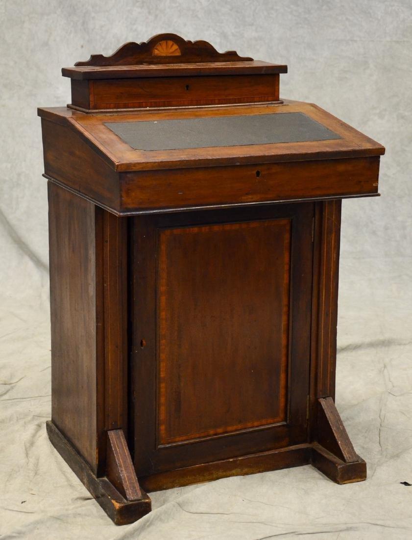 Inlaid mahogany child sized Davenport writing desk, c