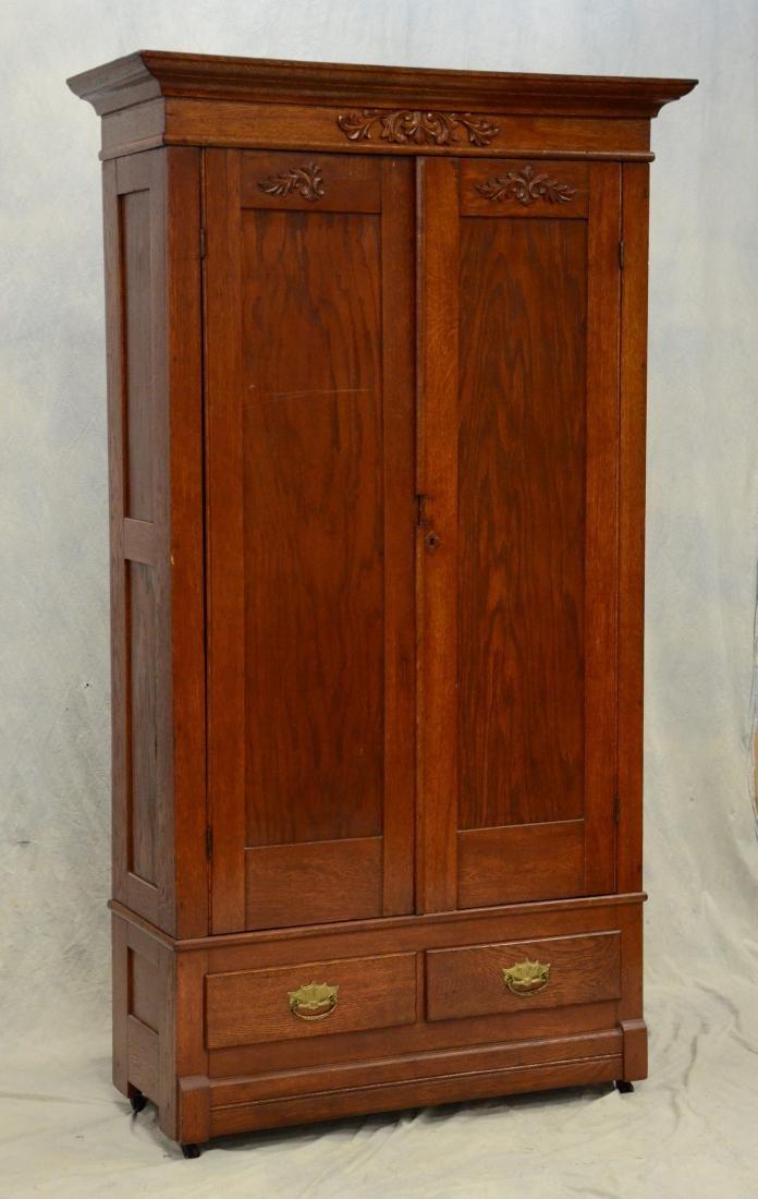 Antique carved Victorian solid oak 2-door armoire,