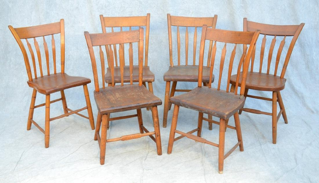 Assembled set of 6 arrowback plank seat side chairs