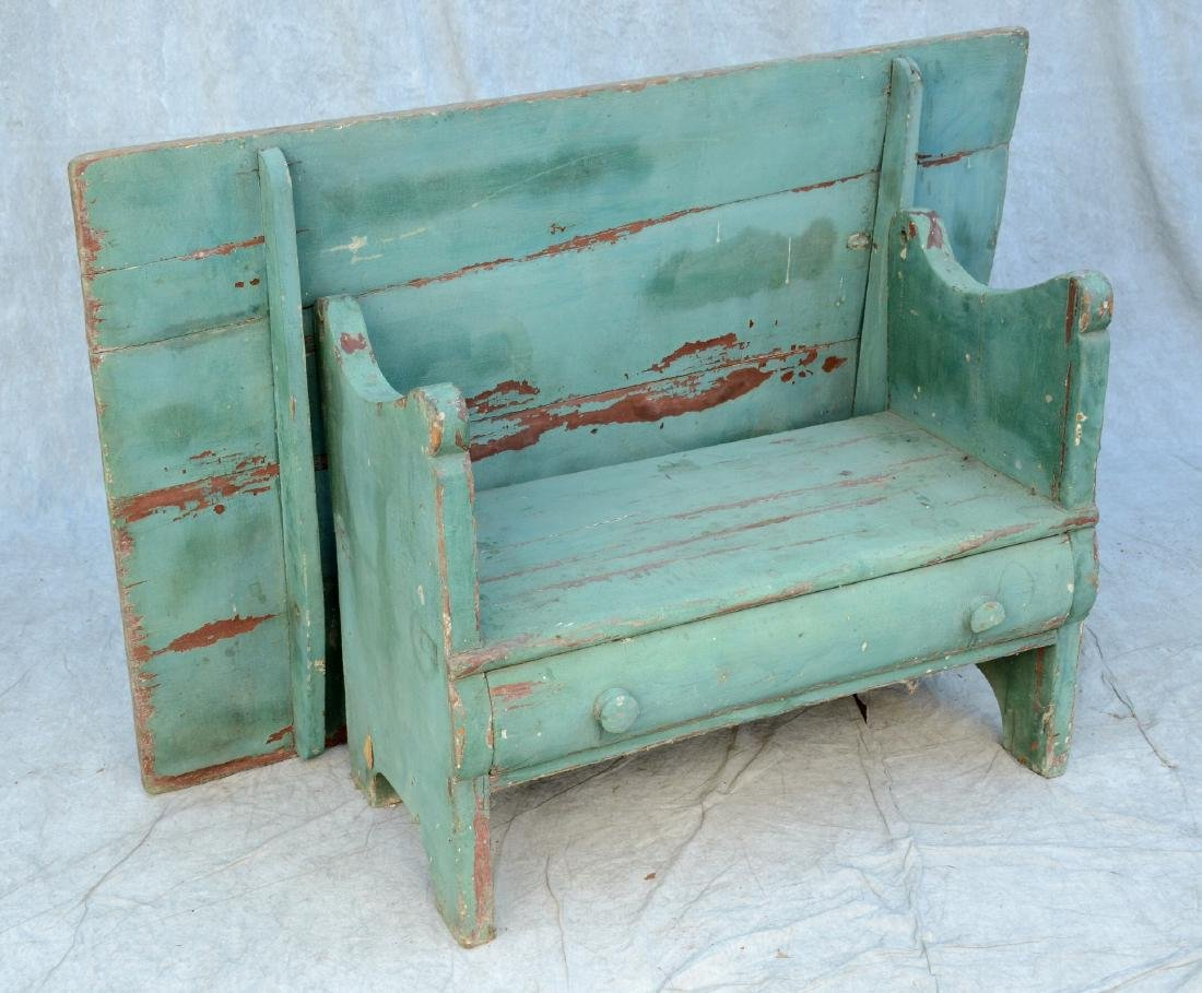 """Green painted bench table with single drawer, 29"""" h x"""