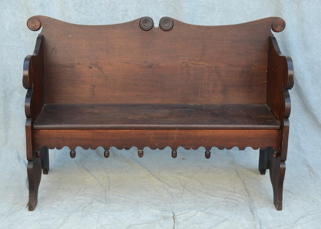 Country Victorian hall bench with acorn drops (1