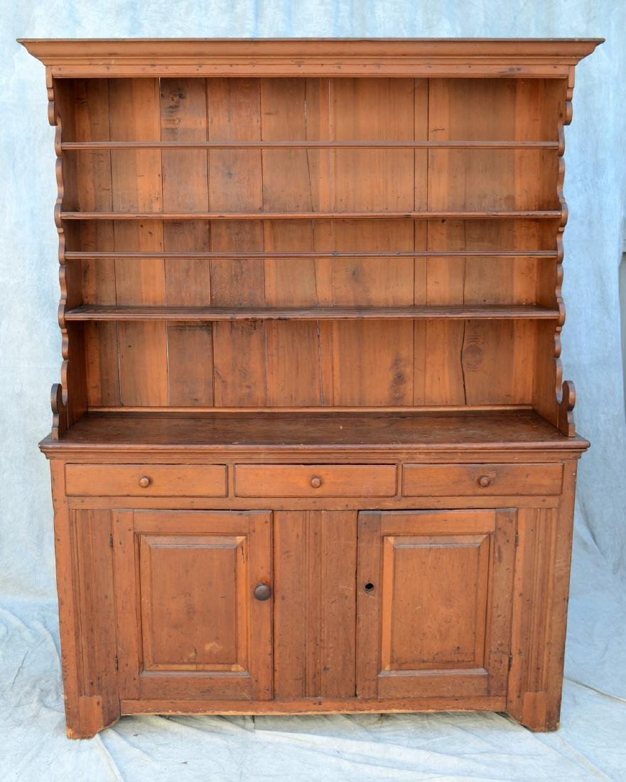 PA Open pewter cupboard, 3 drawers over 2 doors,