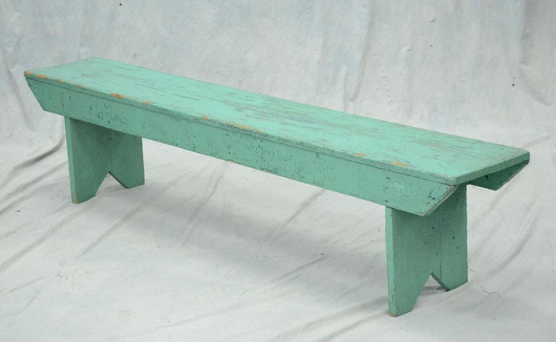 "Primitive 74"" green painted pine bench, 17"" h  x"