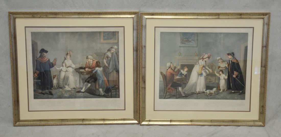 After Laurence Joseph Cosse, pair of engravings