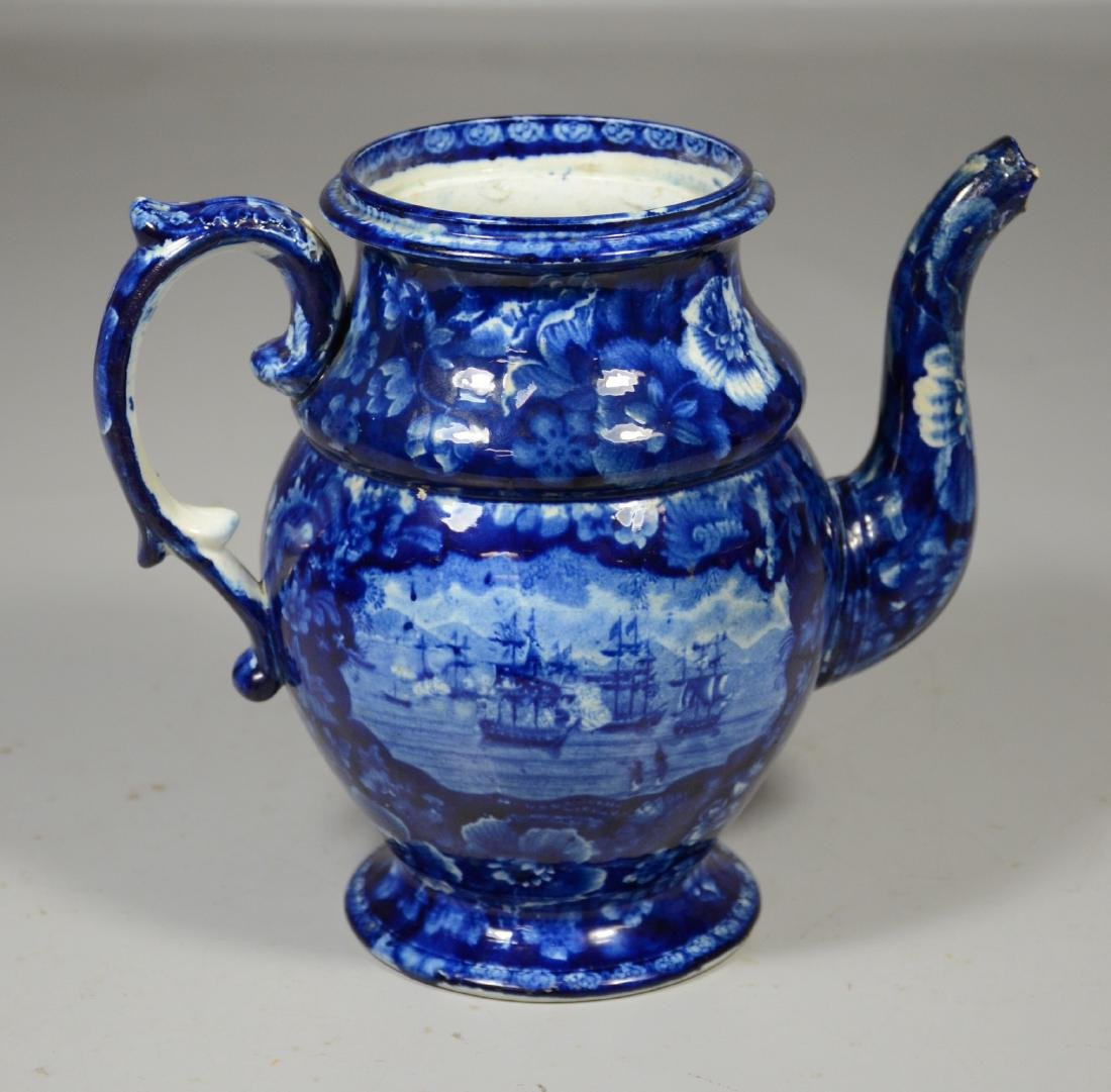 Staffordshire historical blue teapot