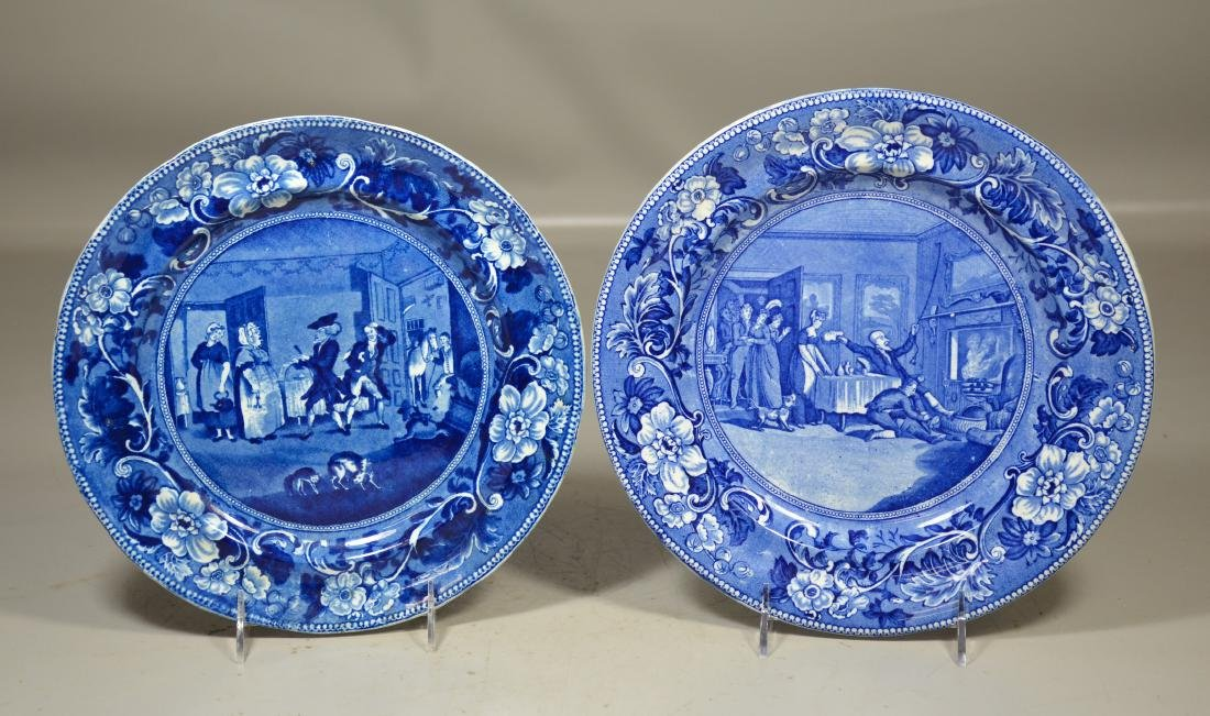 (2) Doctor Syntax blue transfer Staffordshire plates