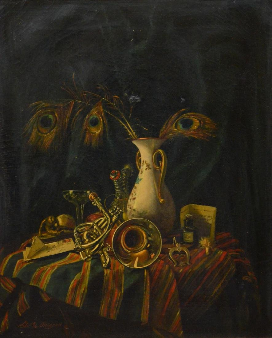 Charles U Boizard, still life painting with trumpet