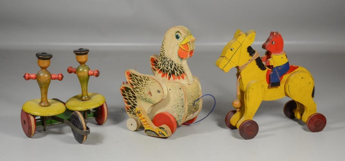 (3) Vintage child's pull toys
