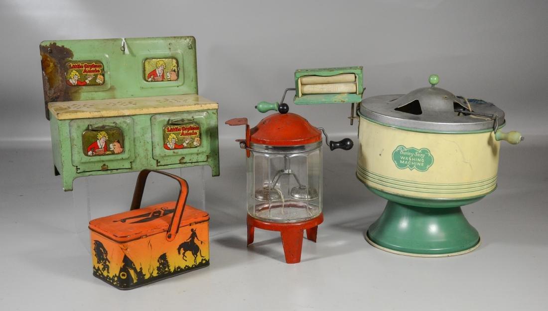 (4) Vintage children's tin toys