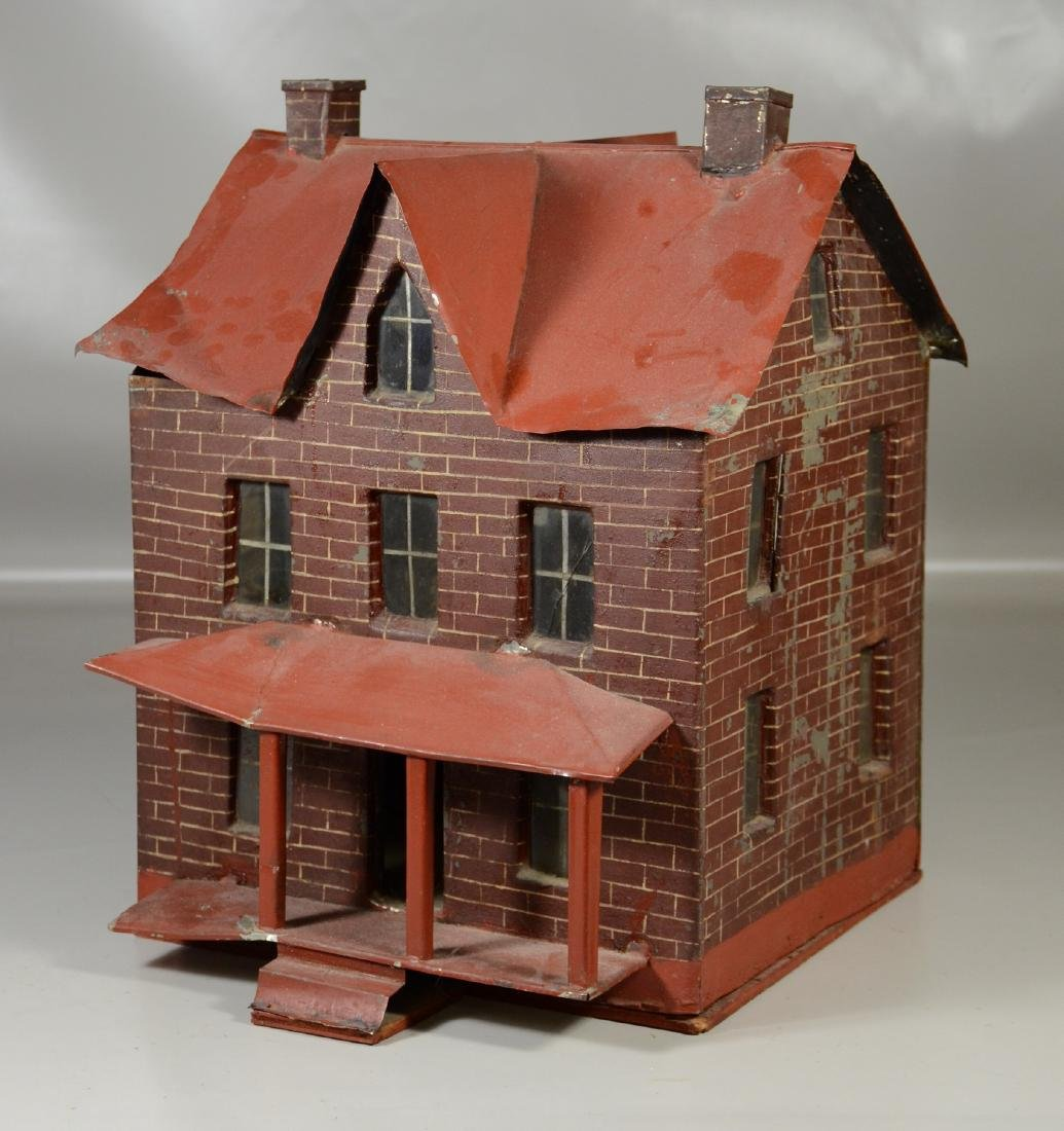 Faux brick painted tin doll house