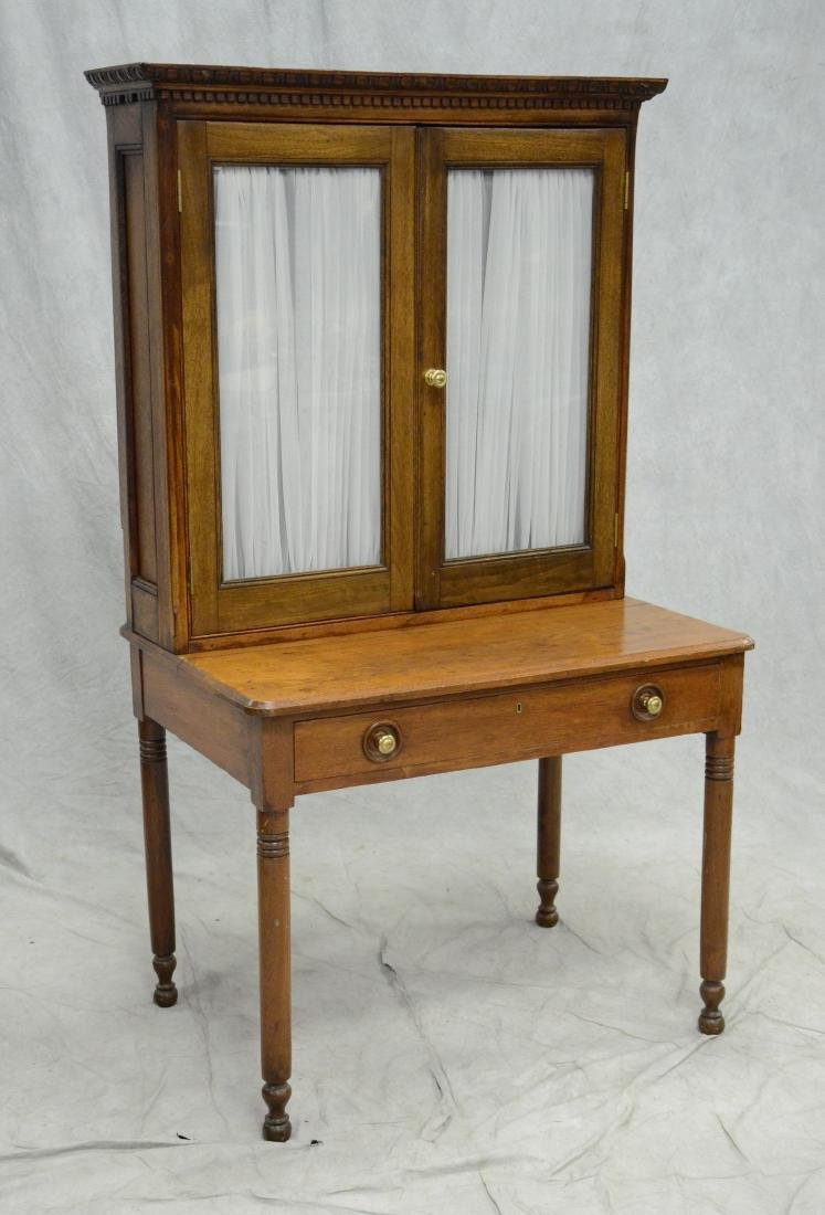 Country Sheraton writing desk with bookcase top