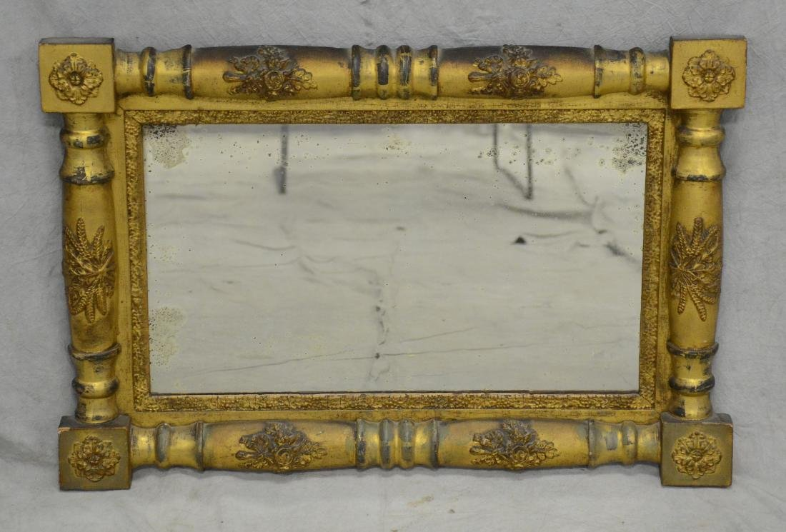 Gilt Empire split spindle wall mirror