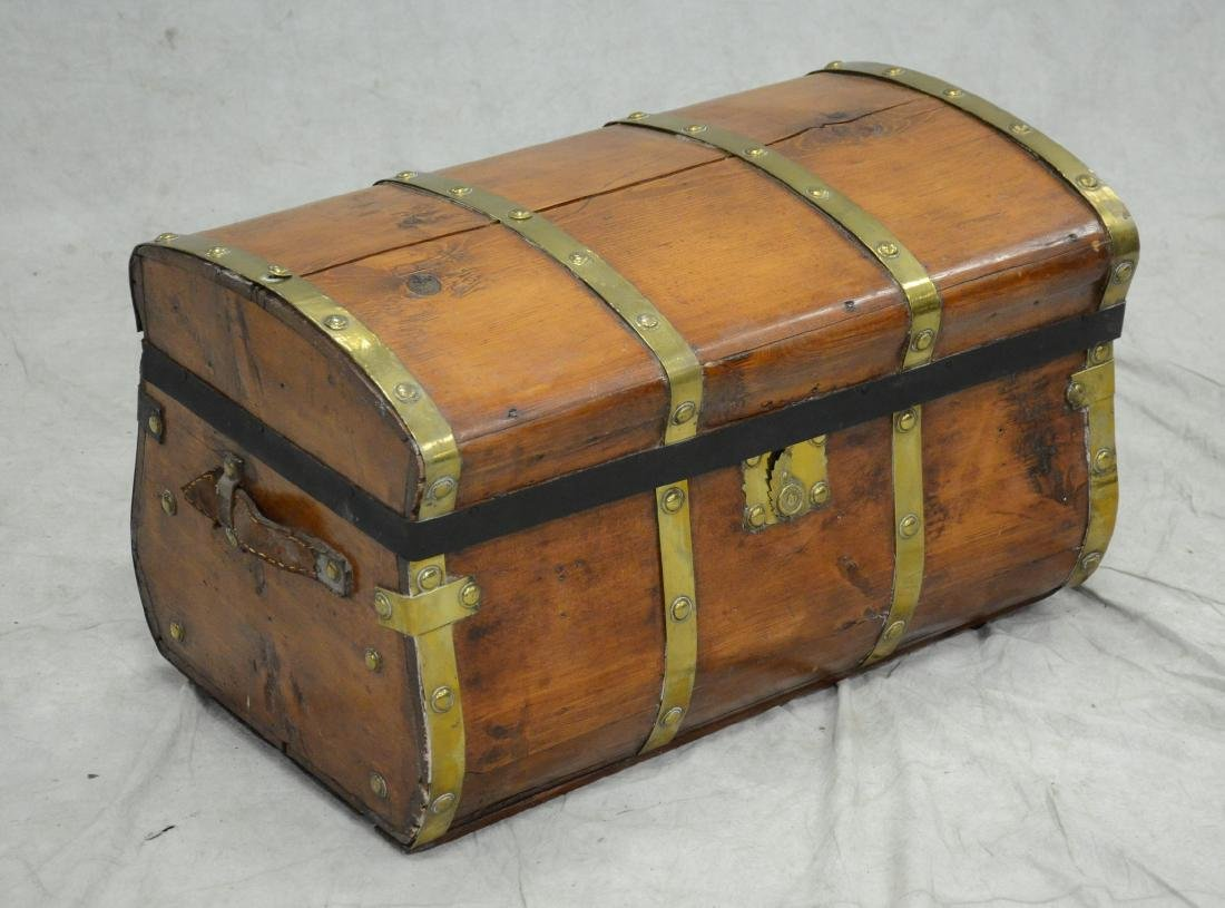 Brass bound wooden Jenny Lind trunk