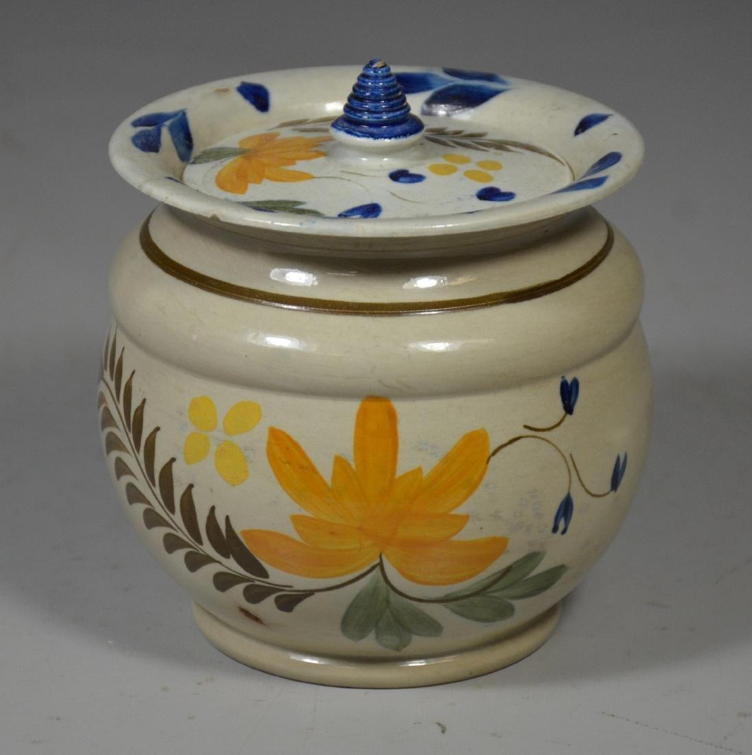 Decorated Leeds soft paste sugar bowl