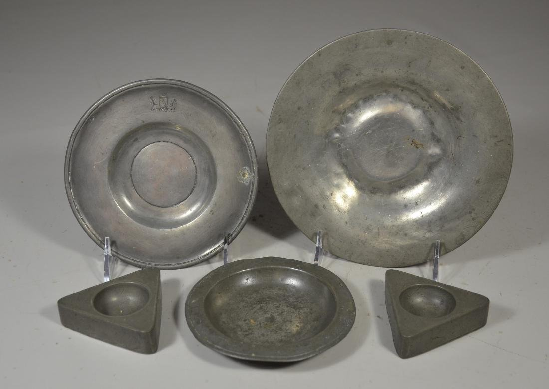 (3) Early Pewter Plates and Pair of Salts