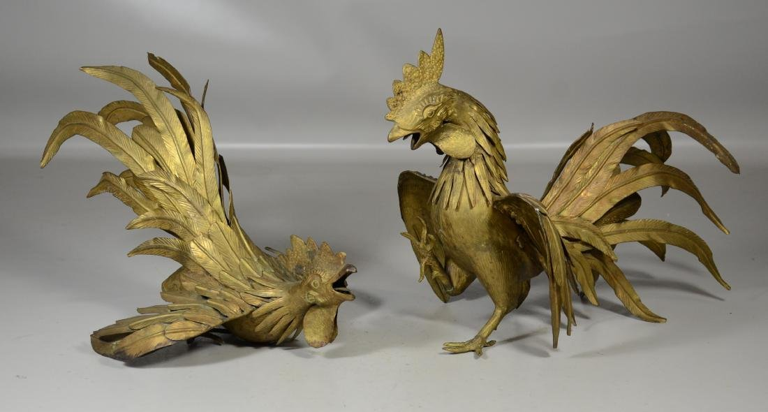 Pair of Decorative Brass Roosters