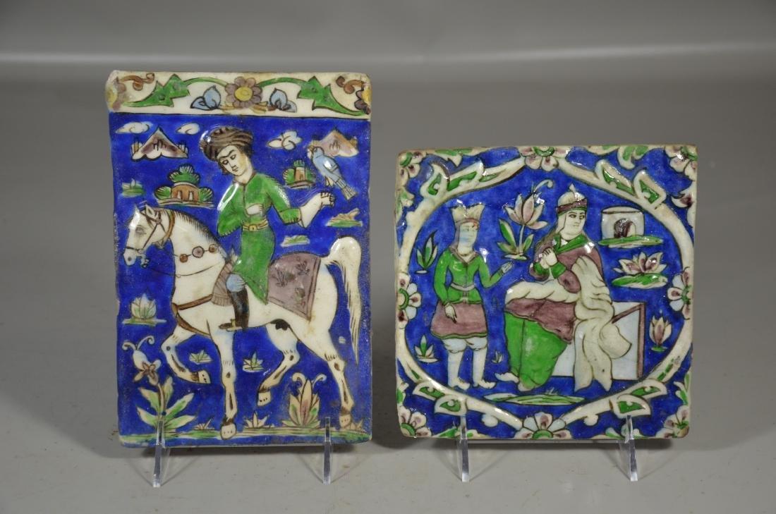 (2) Persian Glazed Tiles