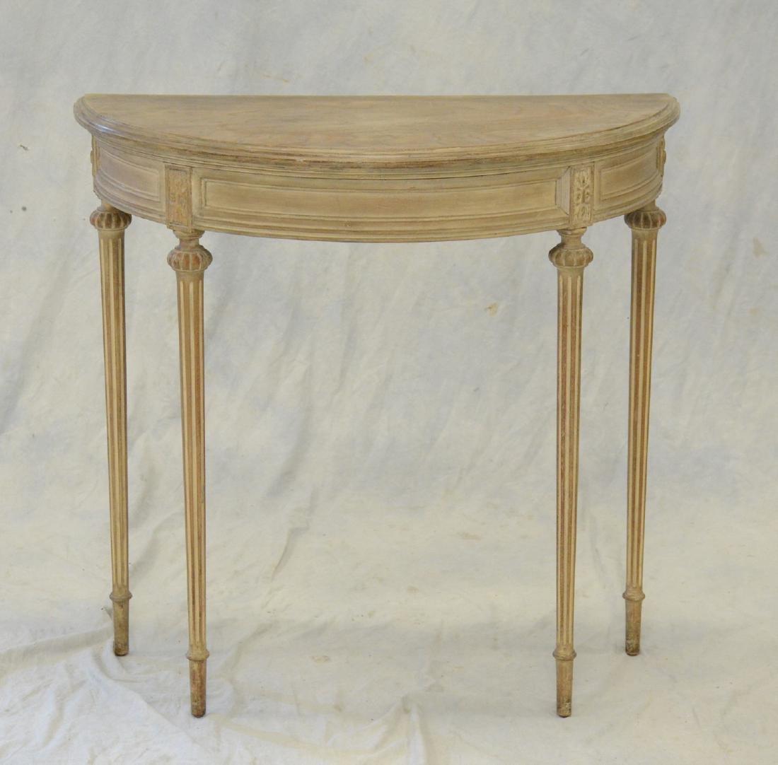 Antique Louis XVI Style Painted Demilune Table