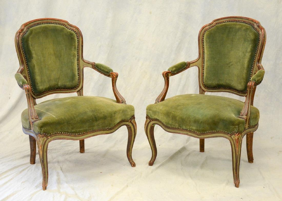 Pair of Painted Louis XV Green Painted Fauteuils