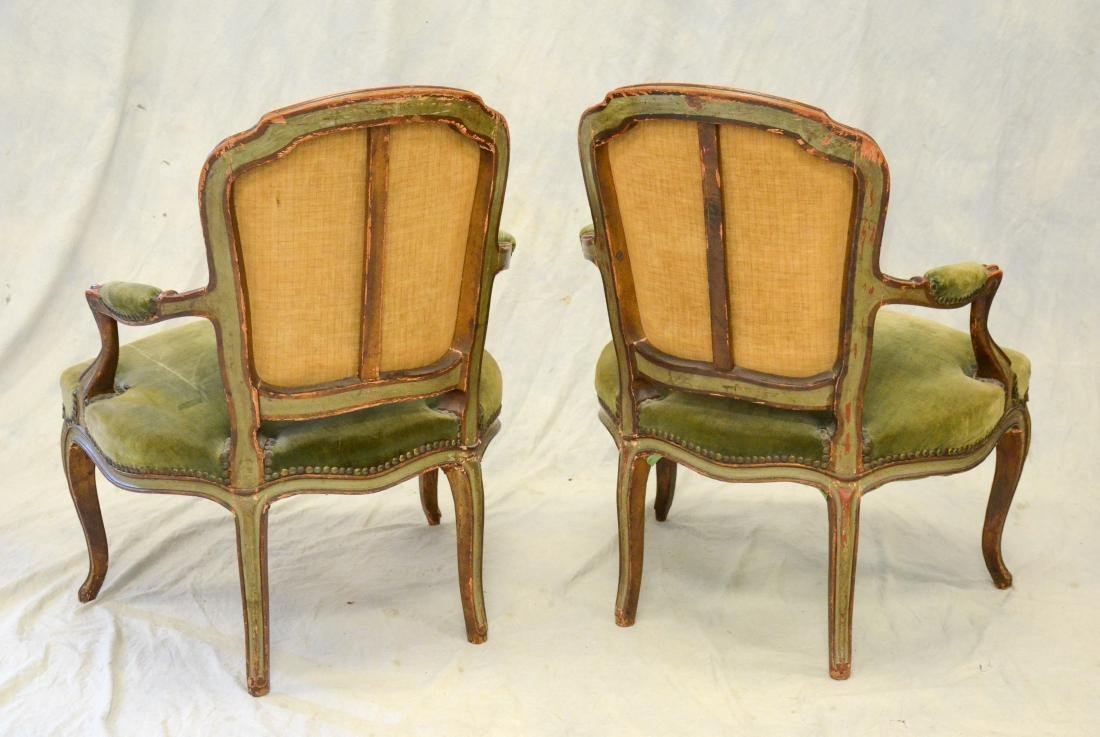 Pair of Painted Louis XV Green Painted Fauteuils - 2