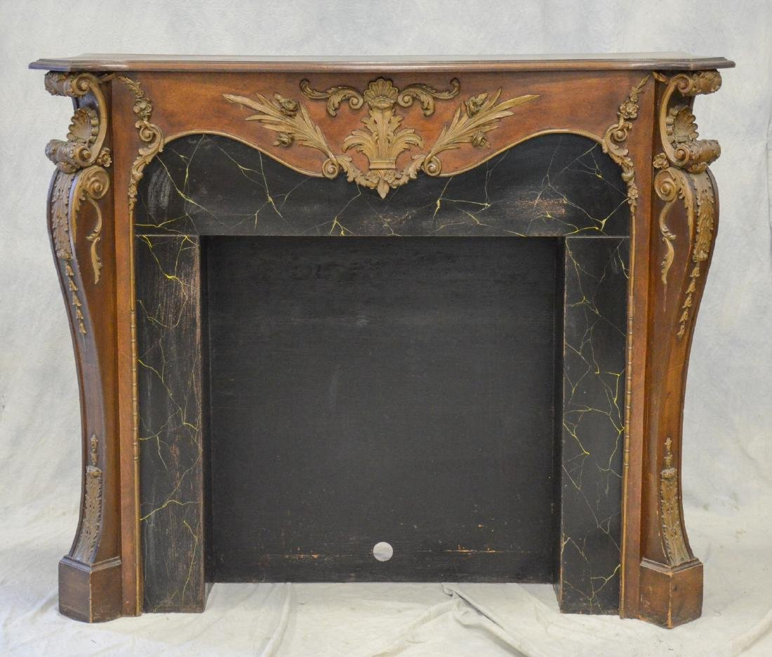 Antique Mahogany Carved and Gilt Fireplace Mantle