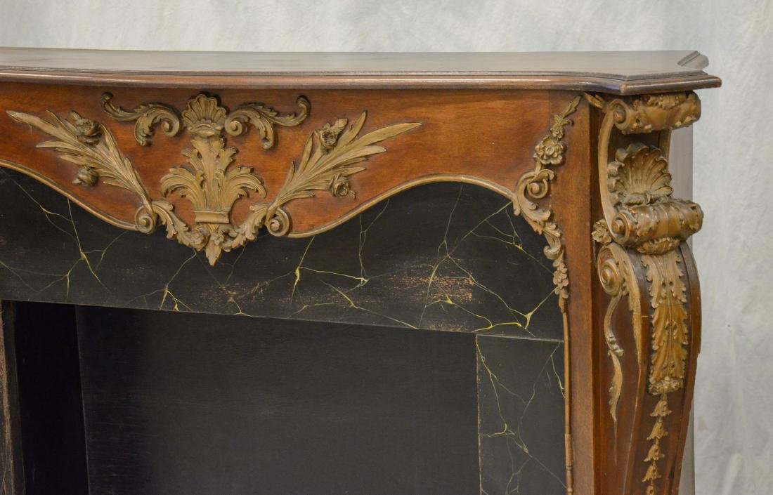 Antique Mahogany Carved and Gilt Fireplace Mantle - 2