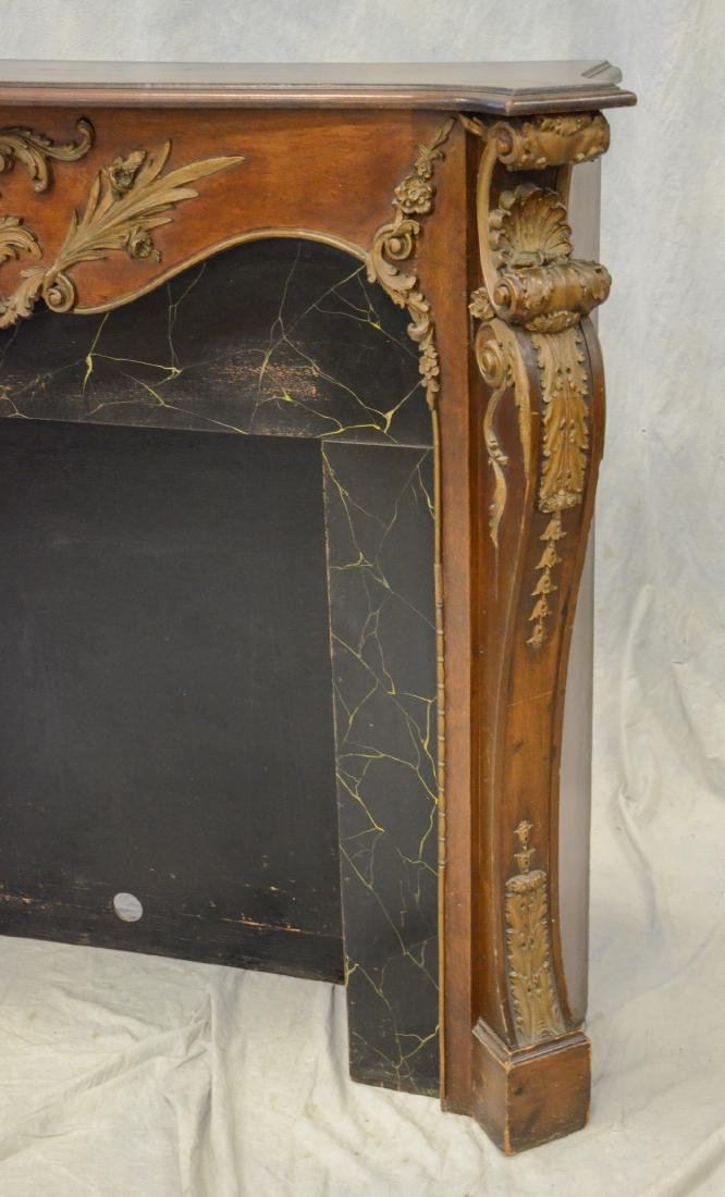 Antique Mahogany Carved and Gilt Fireplace Mantle - 3