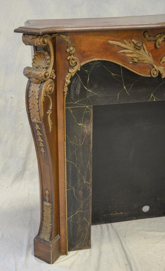 Antique Mahogany Carved and Gilt Fireplace Mantle - 4