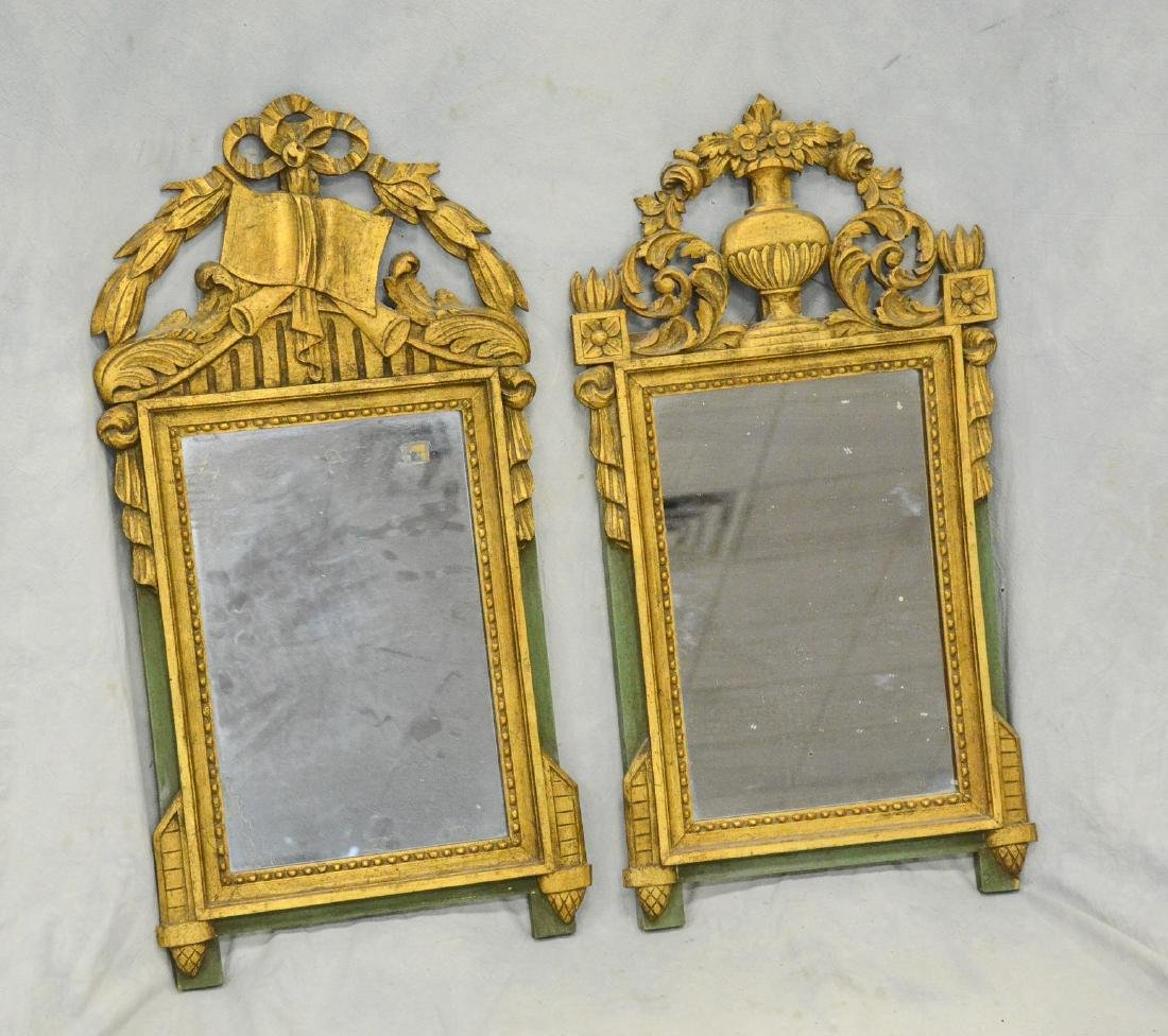 Companion Pair of Antique French Gilt Carved Mirrors
