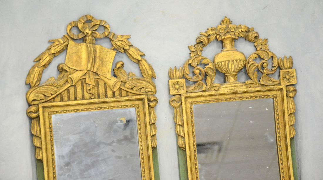 Companion Pair of Antique French Gilt Carved Mirrors - 2