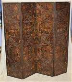 4 Fold early Continental painted leather screen