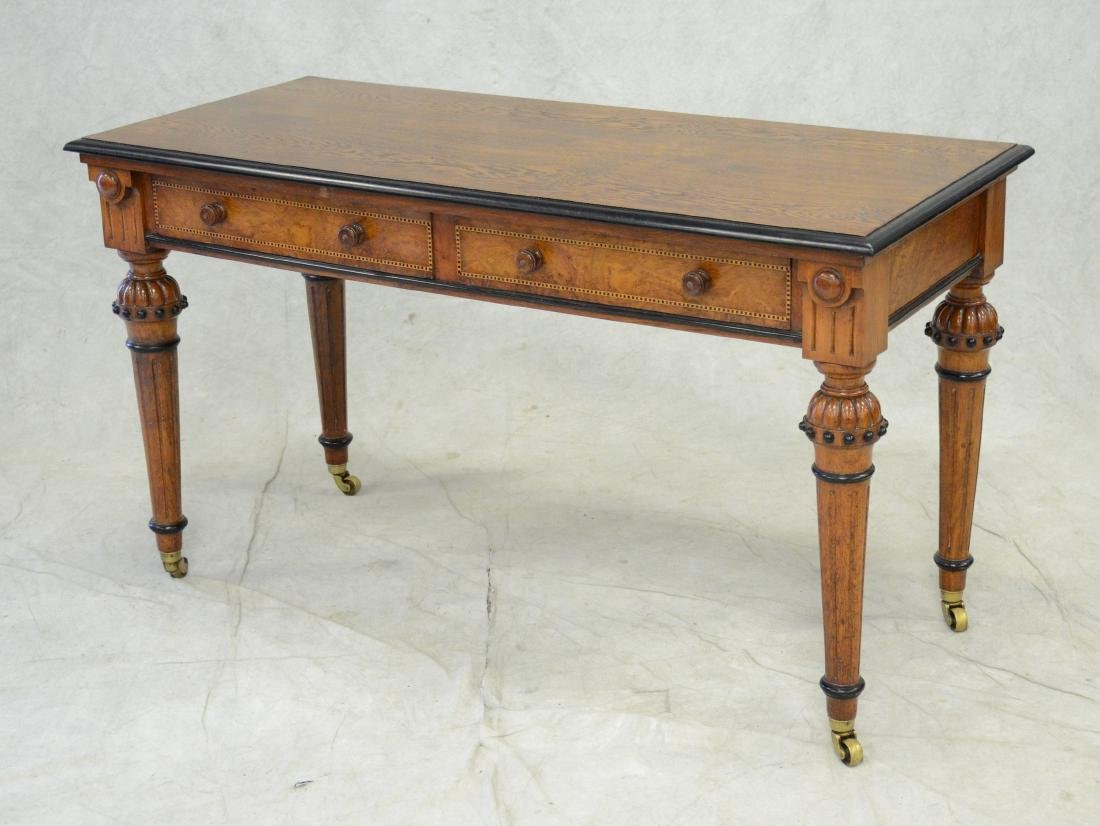 Carved & inlaid  English Victorian writing table