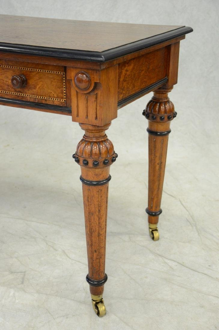 Carved & inlaid  English Victorian writing table - 2