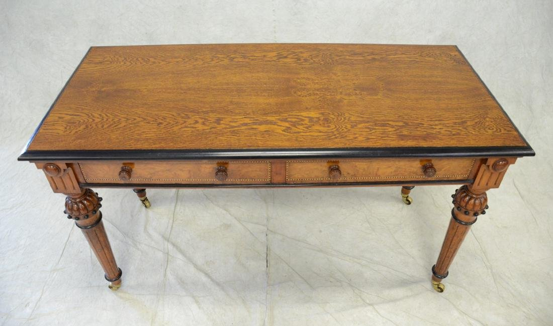 Carved & inlaid  English Victorian writing table - 3