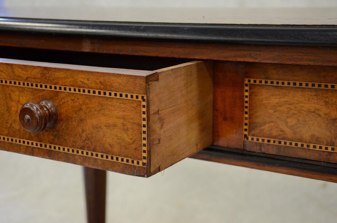 Carved & inlaid  English Victorian writing table - 4