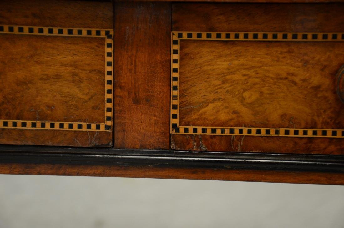 Carved & inlaid  English Victorian writing table - 5