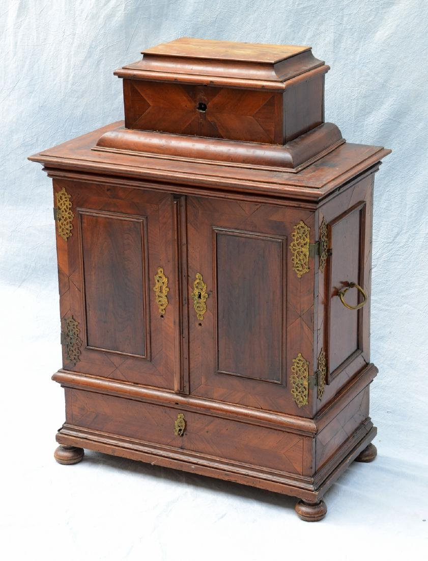 Continental banded and inlaid walnut side cabinet