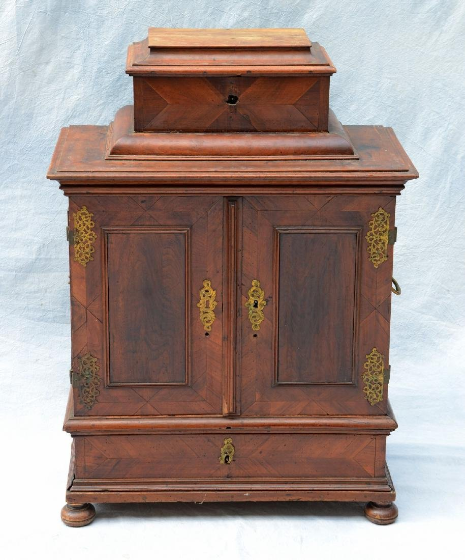 Continental banded and inlaid walnut side cabinet - 2