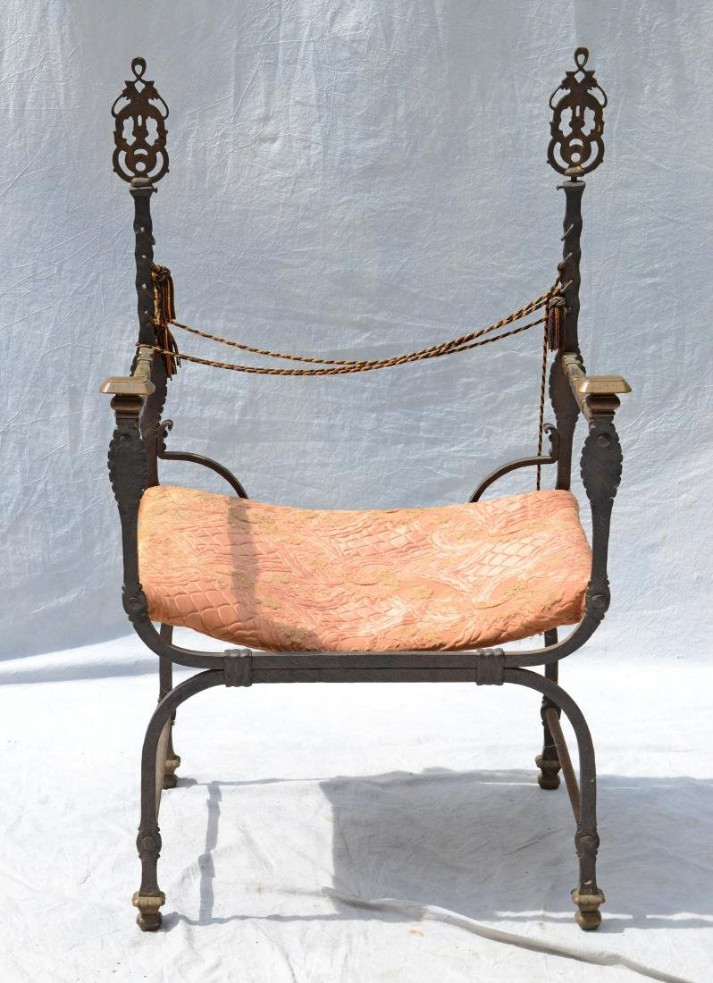 "Wrought iron and brass Continental ""U"" chair"