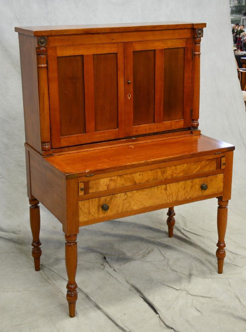 Cherry Sheraton country desk, 2 pc