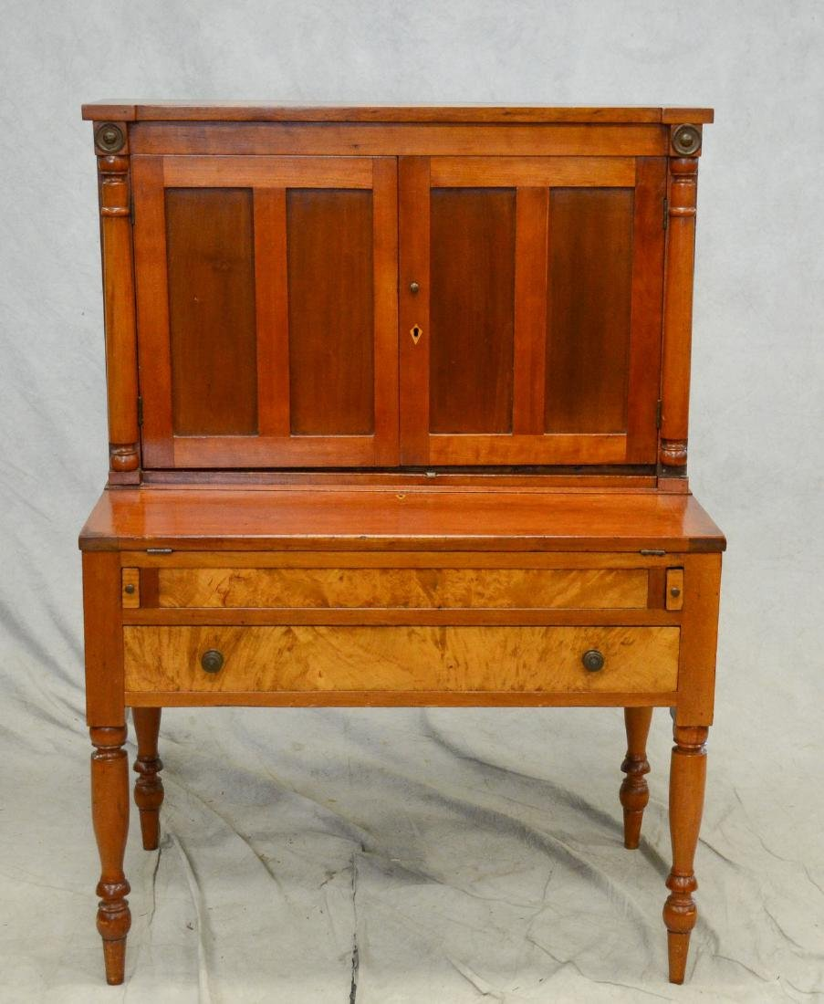 Cherry Sheraton country desk, 2 pc - 2