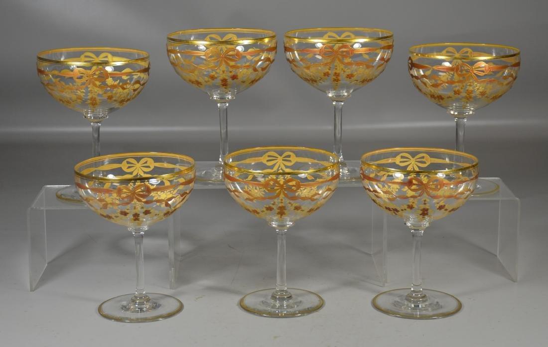 Set of (7) Continental Crystal Goblets w/Gilt Decor