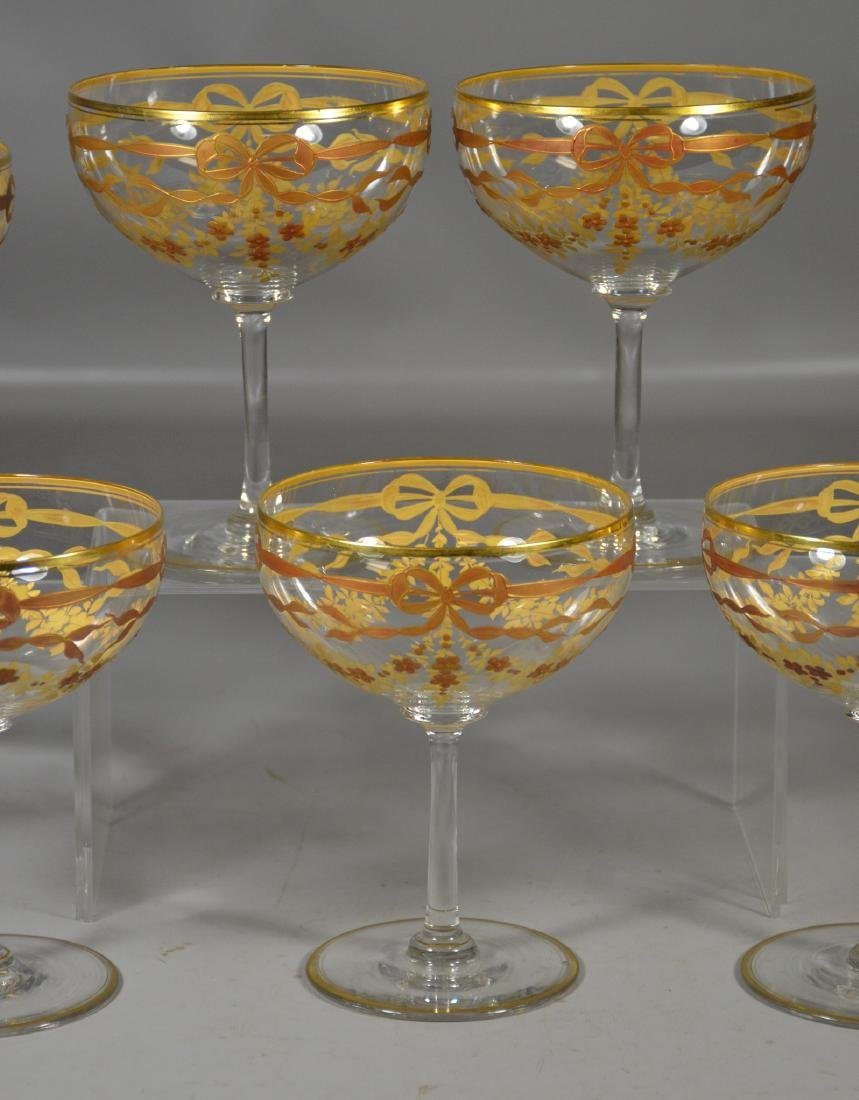 Set of (7) Continental Crystal Goblets w/Gilt Decor - 2