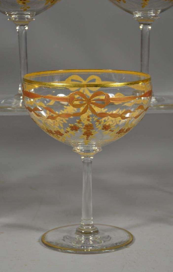 Set of (7) Continental Crystal Goblets w/Gilt Decor - 3
