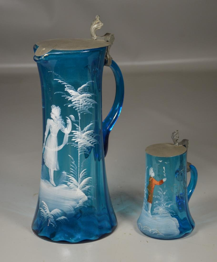 (2) Pieces of Mary Gregory Enameled Blue Glass