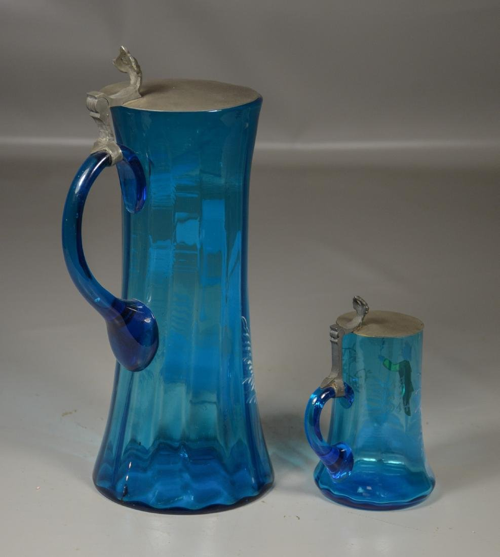 (2) Pieces of Mary Gregory Enameled Blue Glass - 3