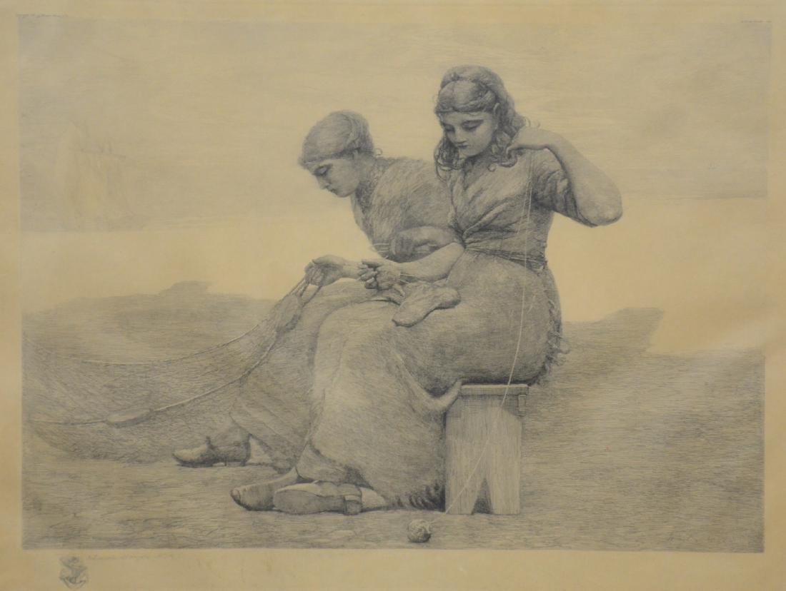 "Winslow Homer Etching ""Mending the Tears"""