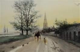 Frank F English (American, 1854-1922), w/c landscape