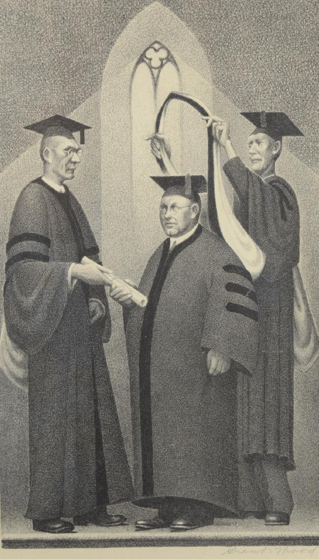 """Grant Wood """"Honorary Degree"""" Framed Lithograph"""