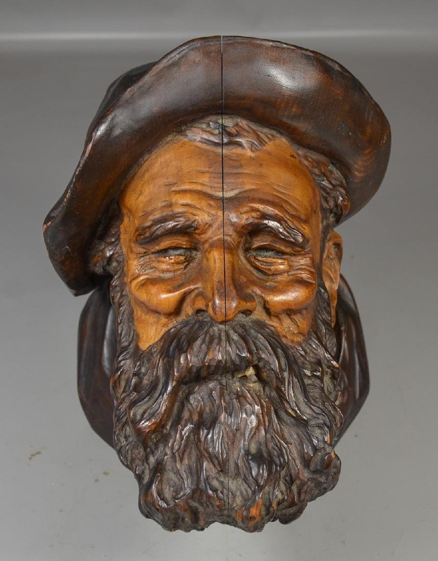 Continental Wood Carved Bust of a Bearded Gentleman